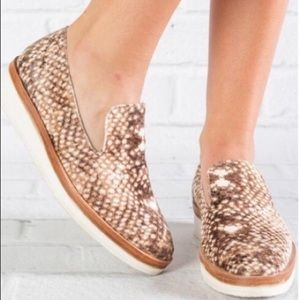 Free People Velvet snakeskin loafers